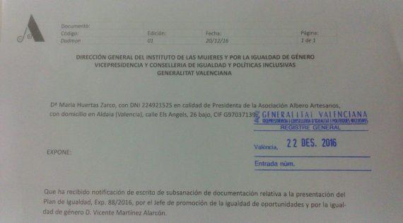 Plan de Igualdad de la Asociación de Albero Artesanos